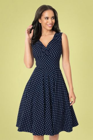 50s Delores Sleeveless Dot Swing Dress in Navy