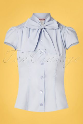 50s Estelle Blouse in Baby Blue