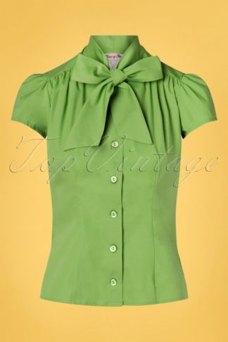 50s Estelle Blouse in Grass Green