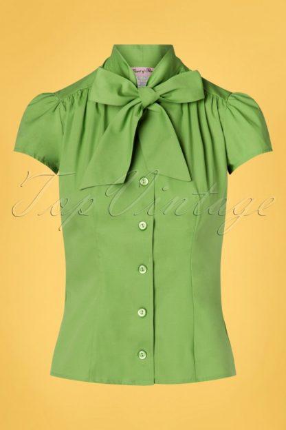50s Estelle Blouse in Grass Green