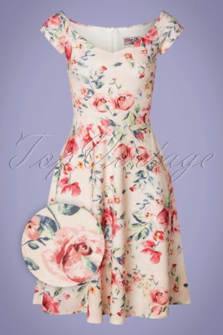 50s Fabienne Floral Swing Dress in Apricot