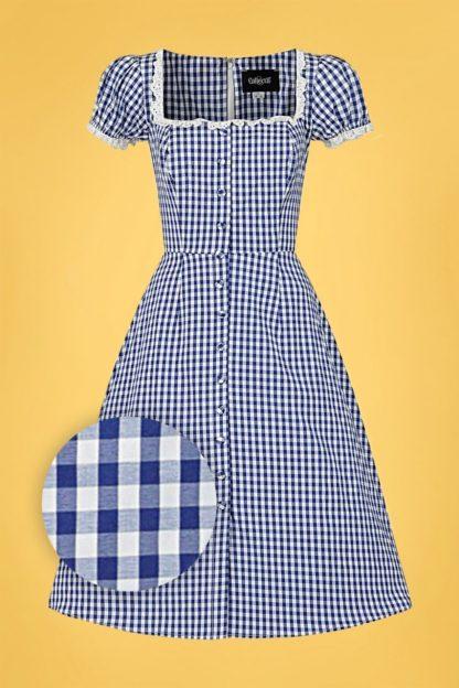 50s Giulietta Mini Gingham Swing Dress in Blue
