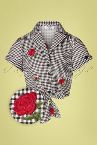 50s Golightly Gingham Roses Tie Blouse in Black and White