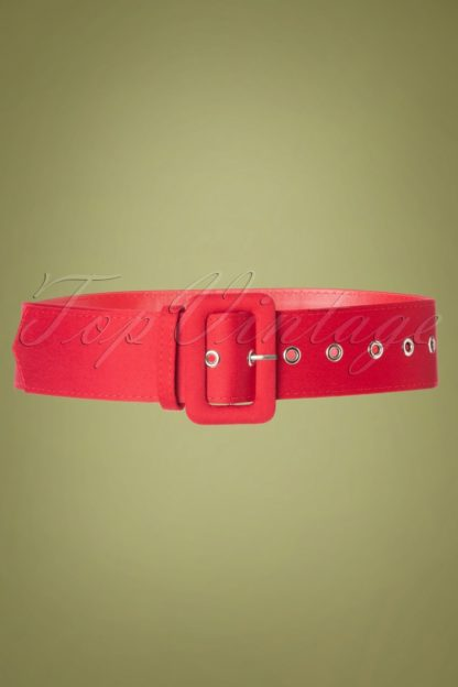 50s Jade Plain Belt in Red