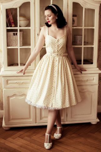 50s Jemima Polka Dot Swing Dress in Cream
