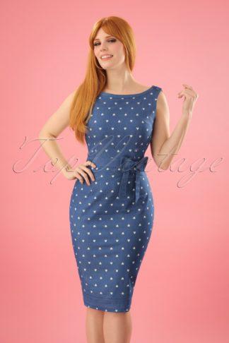 50s Judy Hearts Dress in Denim