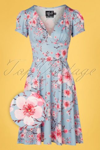 50s Julianna Blossom Dress in Blue