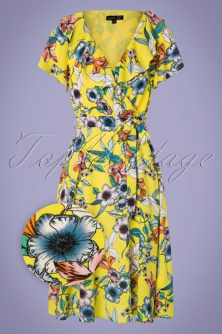 50s Kamila Floral Swing Dress in Yellow