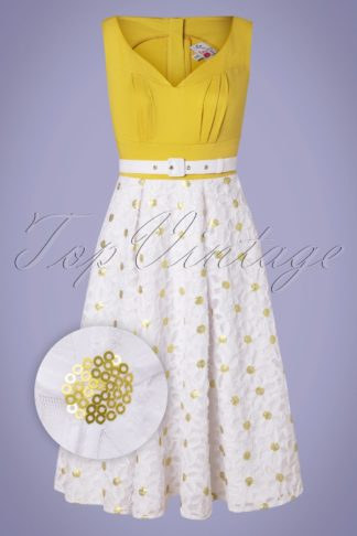 50s Kesha Swing Dress in White and Mustard