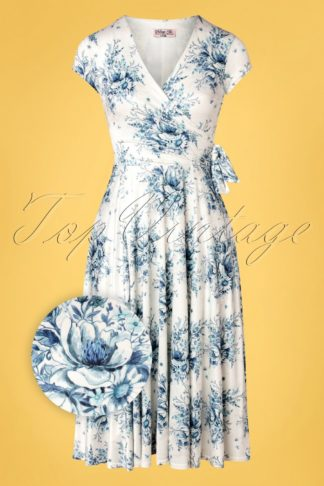 50s Layla Floral Cross Over Dress in White