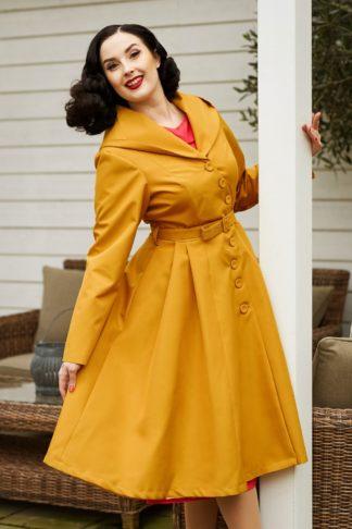50s Lorin Sun Swing Trench Coat in Mustard