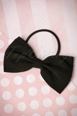 50s Lovestruck Bow Hair Band in Black
