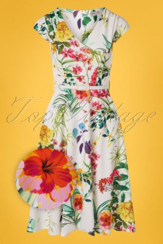 50s Mae Floral Swing Dress in Ivory