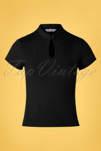 50s Mandarin Collar Top in Black