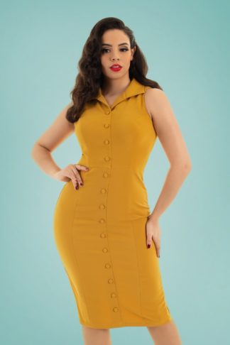50s Margo Wiggle Dress in Mustard