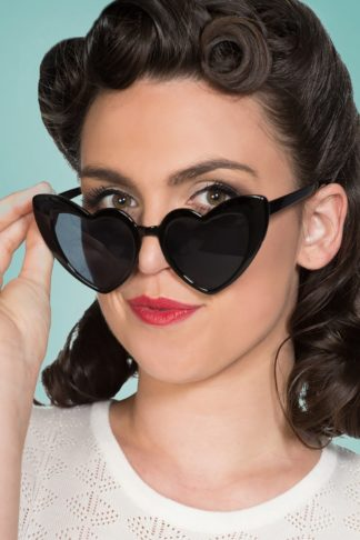 50s Melba Heart Shaped Sunglasses in Black