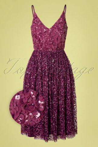 50s Michaela Sequin Dress in Plum