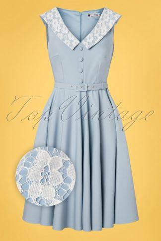 50s Molly Swing Dress in Light Blue
