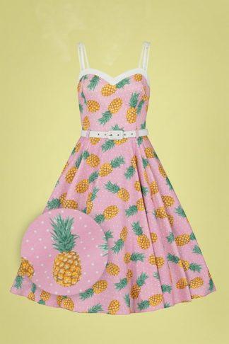 50s Nova Pineapple Swing Dress in Pink