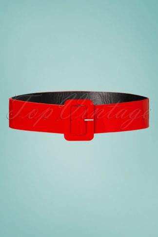 50s Sally Patent Plain Belt in Red