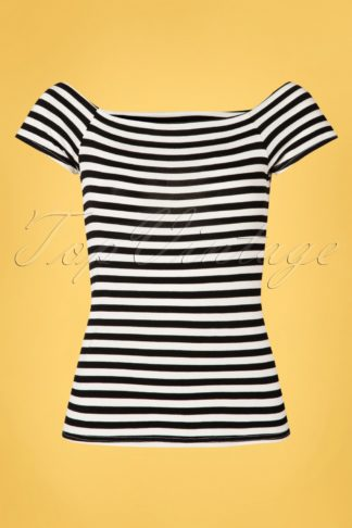 50s Sandra Dee Striped Top in Black and Ivory