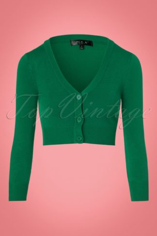 50s Shela Cropped Cardigan in Emerald Green