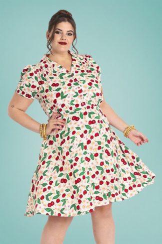 50s Simona Cherry Swing Dress in White