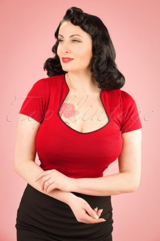 50s Sophia Top in Red and Black