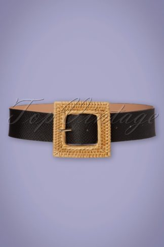 50s Summer Rattan Belt in Black