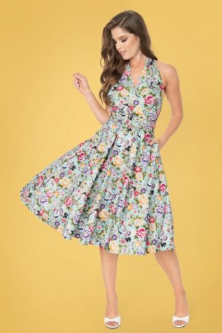 50s TarryTown Halter Hostess Dress in Mint