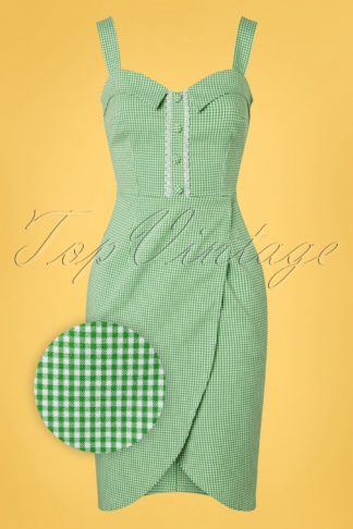 50s Vivi Checked Pencil Dress in Green