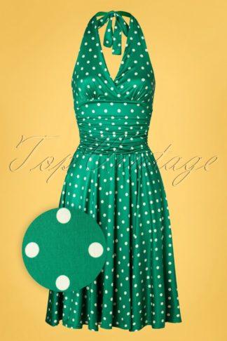 50s Yolanda Polkadot Halter Dress in Emerald Green
