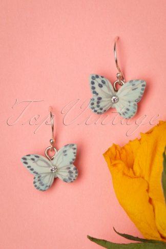 60s Butterfly Sterling Silver Drop Earrings in Sky Blue