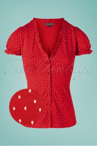 60s Celia Little Dots Blouse in Chili Red