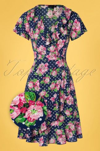 60s Charina Floral Polkadot Dress in Navy