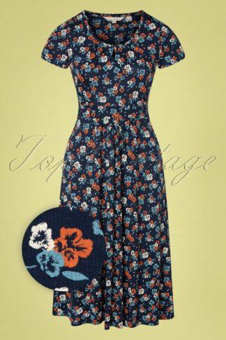 60s Crebawthan Yarrow Flower Harbour Dress in Blue