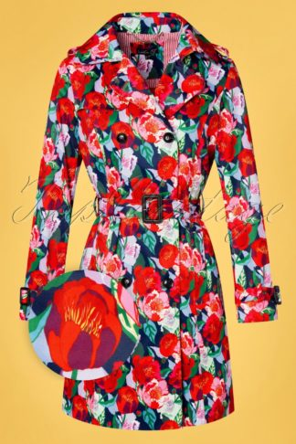 60s Floral Fun Trench Coat in Multi