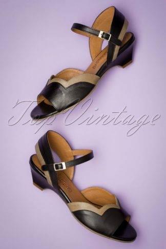 60s Janet Leather Low Heel Sandals in Black and Beige