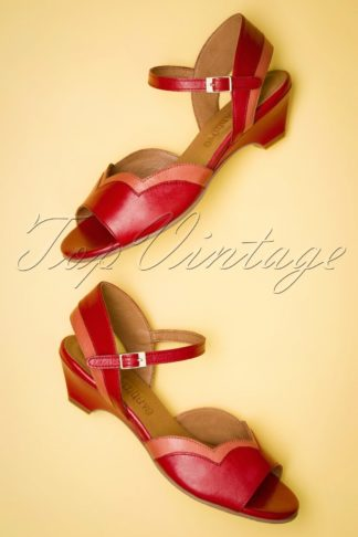 60s Janet Leather Low Heel Sandals in Red and Coral
