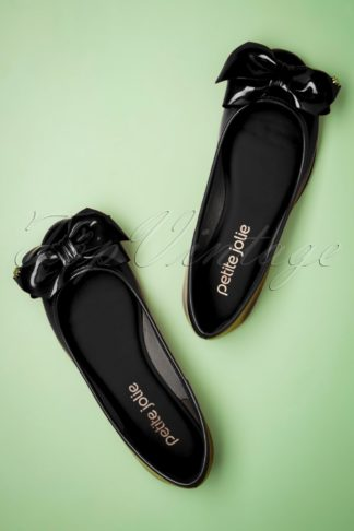 60s Julie Bow Flats in Black