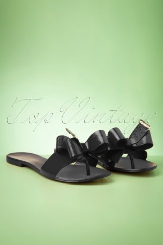 60s Lala Bow Flip Flops in Preto Black