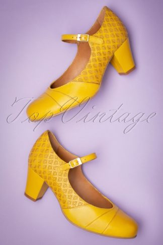 60s Linda Leather Mary Jane Pumps in Yellow