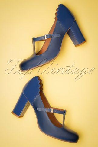 60s Pamela Duotone Leather T-Strap Pumps in Blue