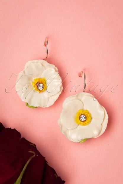 60s Porcelain Poppy Sterling Silver Drop Earrings in White