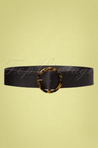 60s Sabine Tortoise Belt in Black