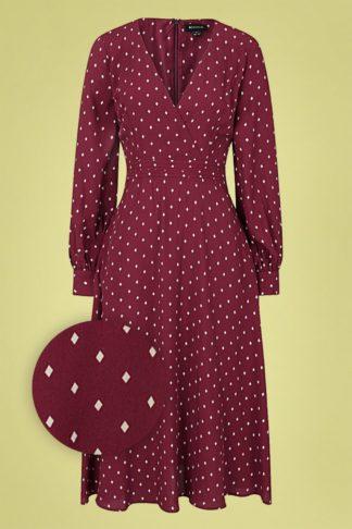 70s Ashley Diamond Swing Dress in Wine