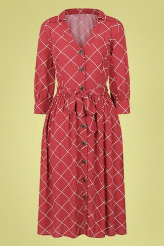 70s Lauren Harlequin Check Dress in Red