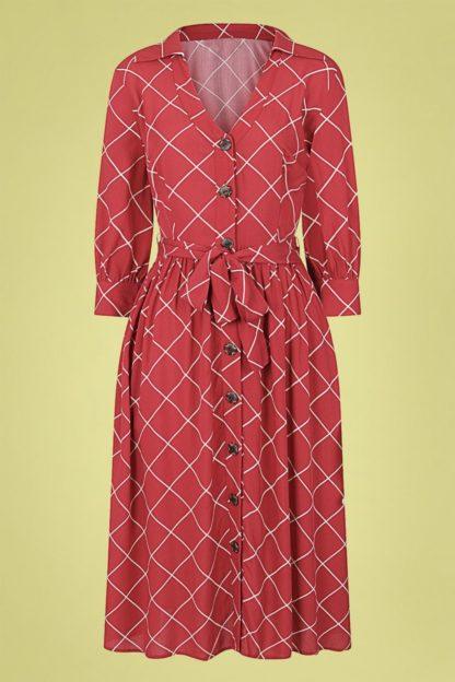 70s Lauren Harlequin Check Dress in Red