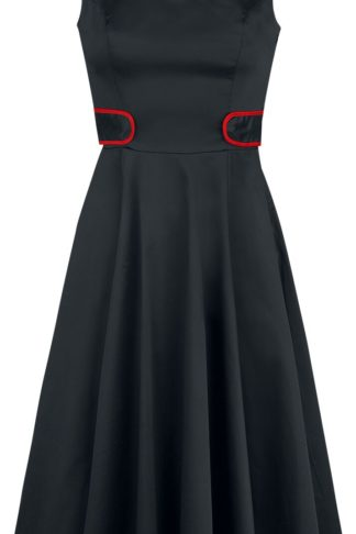 H&R London Black Peter Pan Collar Swing Dress Mittellanges Kleid schwarz/rot