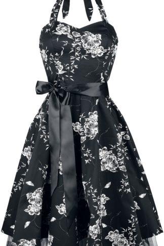 H&R London White Floral Mittellanges Kleid schwarz/weiß